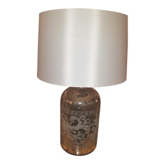Pottery Barn Etched Mercury Glass Table Lamp For Sale