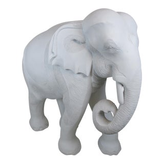 Vintage Life -Size Painted White Wooden Baby Elephant Sculpture