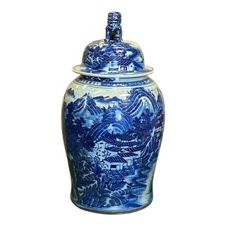Chinese Large Blue & White Scenery Porcelain General Temple Jar For Sale