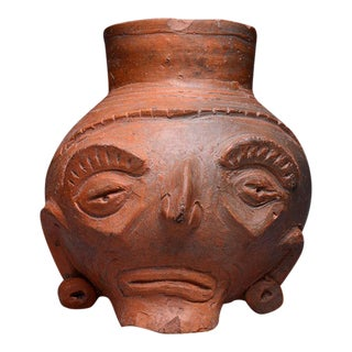 Toltec Plumbate Head Effigy Vessel For Sale