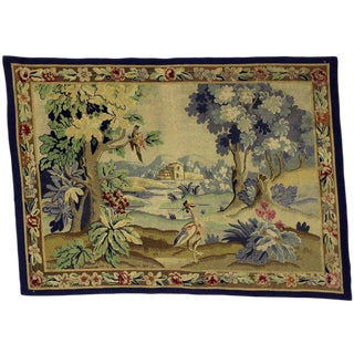 """Antique English Needlepoint Aubusson Verdure Garden Tapestry Wall Hanging - 4'9"""" x 5'8"""" For Sale"""