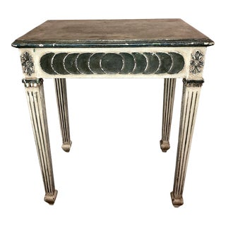 19th Century Neoclassical Painted Side Table With Hidden Drawer For Sale