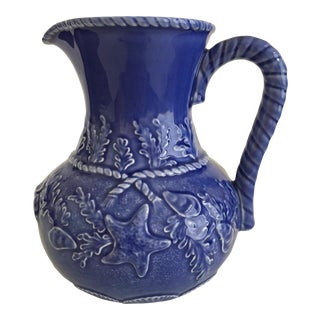 Late 20th Century Blue Seashell Pitcher by Bordallo Pinheiro For Sale