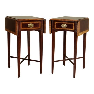 Sherrill Occasional Federal Style Petite Pair Banded Mahogany Dropleaf Pembrokes Tables For Sale