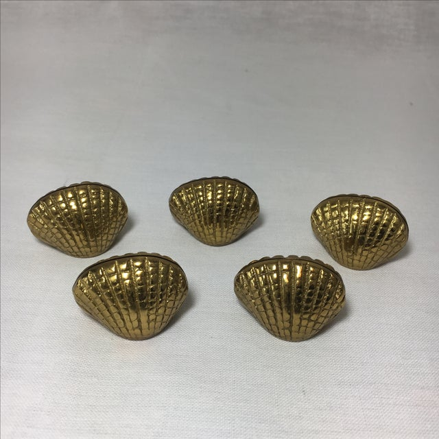 Set of five solid brass seashell/clam place card holders by The Bombay Company. New old stock. Still in original box.