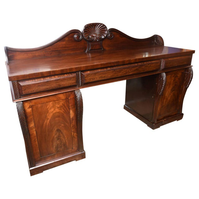 Antique English Mahogany 2 Pedestal Regency Style Server For Sale - Image 9 of 9