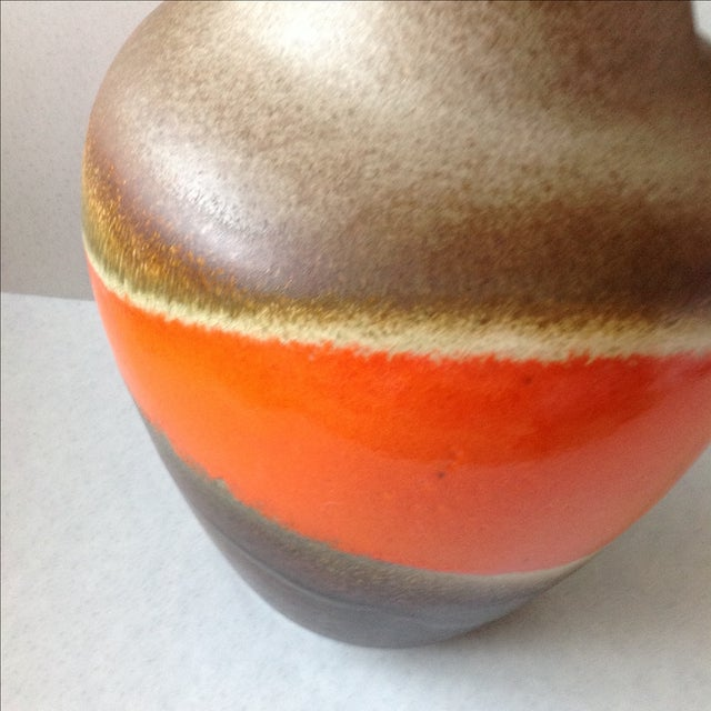 Orange and Brown Fat Lava Floor Vase For Sale - Image 10 of 11