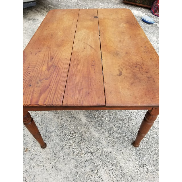 American Antique Pine Farm Table For Sale - Image 3 of 12