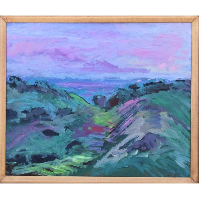 "Santa Barbara, California landscape seascape painting on Masonite by Juan ""Pepe"" Guzman-Maldonado (Chile b.1948). The..."