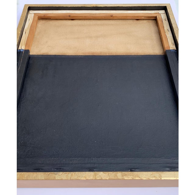 Minimal Abstract Black and Tan Framed Painting For Sale - Image 10 of 11