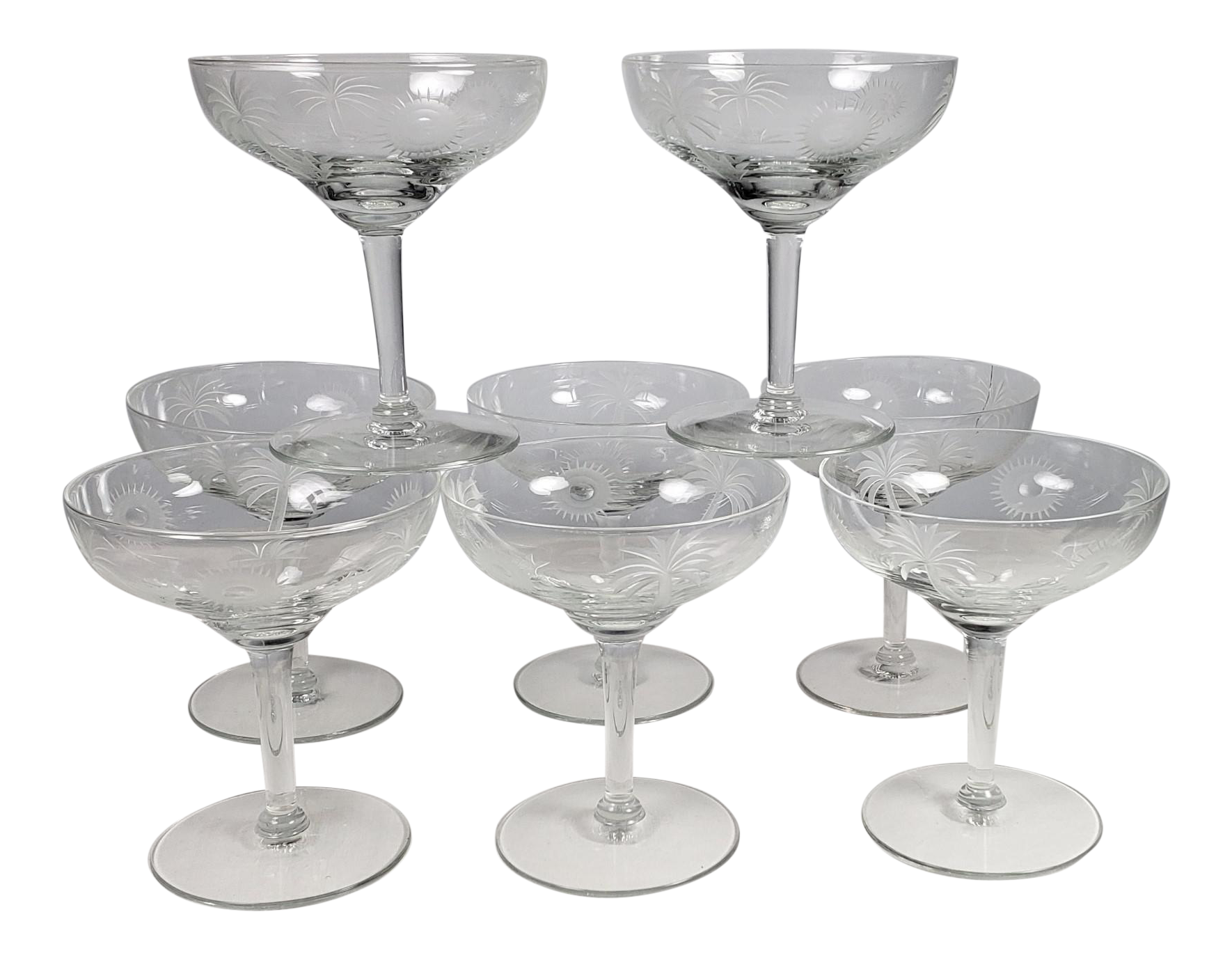 Champagne Coupe Glasses Etched With Palm Trees And Radiant Suns Set Of 8 Chairish