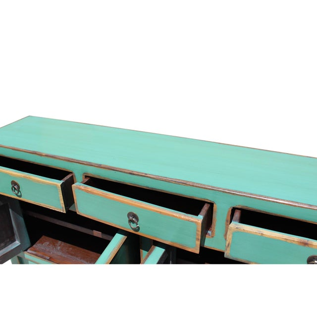 Wood Chinese Oriental Distressed Teal Green Blue Narrow Slim Table For Sale - Image 7 of 8