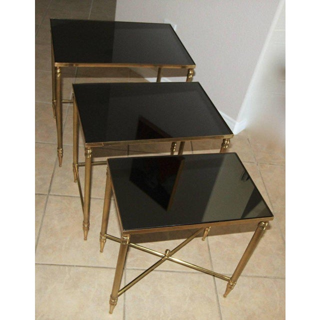 Gold French Bagues Style Brass Nesting Tables - Set of 3 For Sale - Image 8 of 13