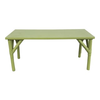 1970s Boho Chic Apple Green Bamboo Coffee Table For Sale