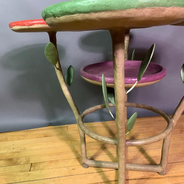 1990s French Artist Designed Polychrome Resin Plant Stand For Sale - Image 5 of 11