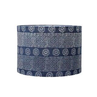 Blue Geometric Floral Hmong Indigo Batik Drum Lampshade