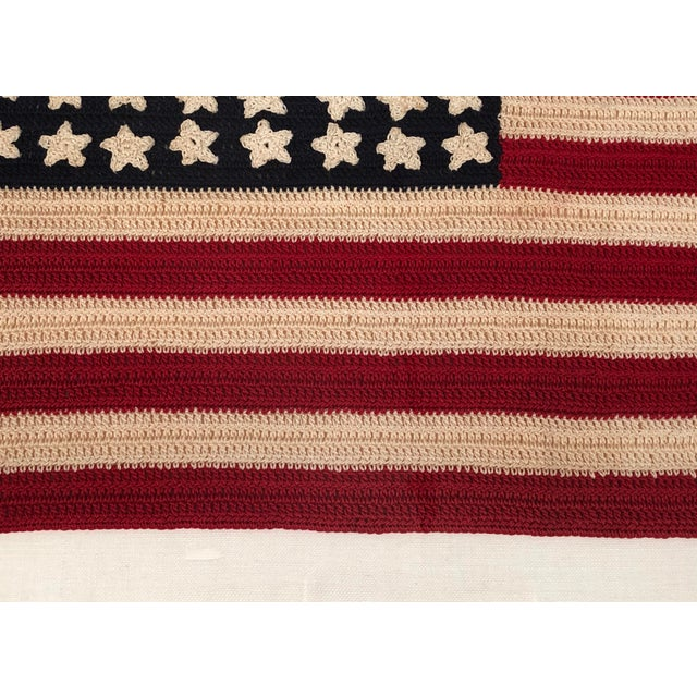 Small Vintage Hand Crocheted American Flag For Sale - Image 11 of 12