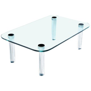 Pace Collection Chrome and Lucite Screw Leg and Glass Coffee Table by Leon Rosen For Sale