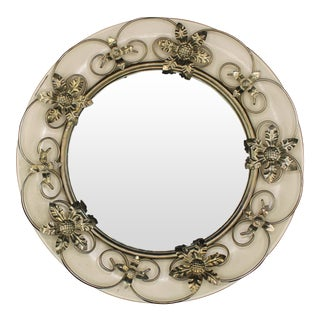 Vintage English Round Metal Convex Mirror For Sale