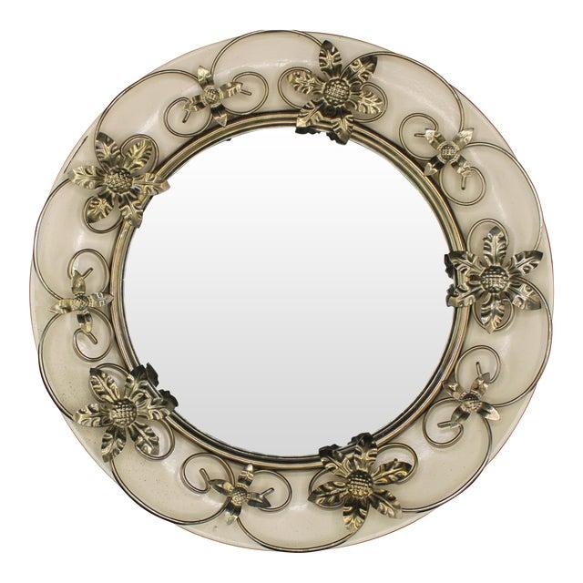 Vintage English Round Metal Convex Mirror For Sale