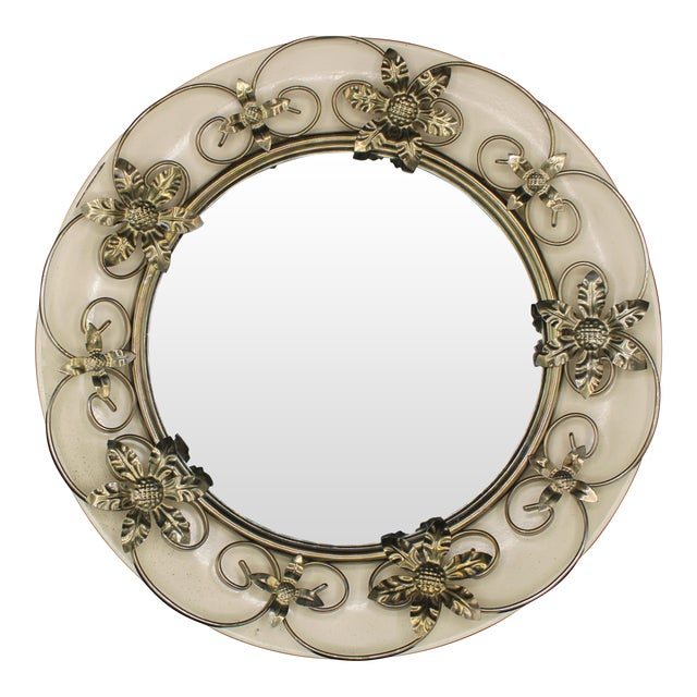 Vintage Round Floral Tole Convex Mirror For Sale