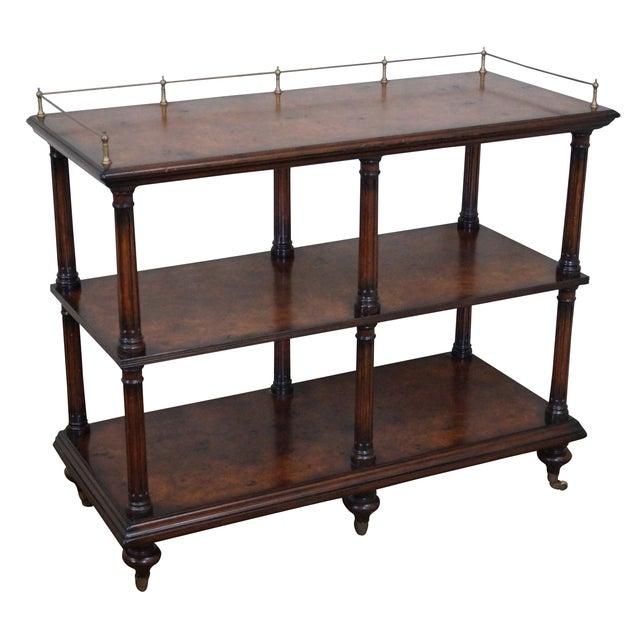 Quality Burl Wood 3 Tier Regency Style Server Cart For Sale