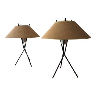 Mid Century Modern Tripod Lamps Designed by Gerald Thurston for Lightolier, Circa 1950s - a Pair For Sale
