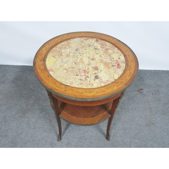 Grosfeld House Grosfeld Marble Top Satinwood Inlaid Center Table For Sale - Image 4 of 9