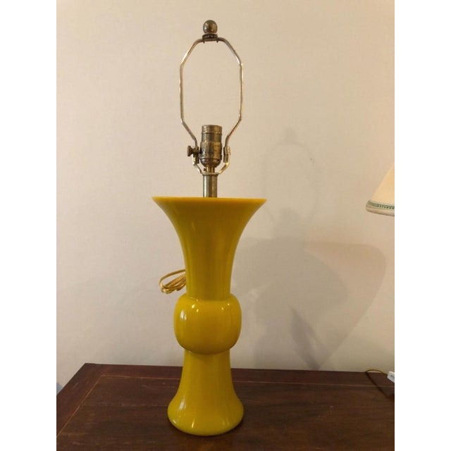 Antique Chinese Imperial Yellow Peking Glass Gu Form Vase Lamp