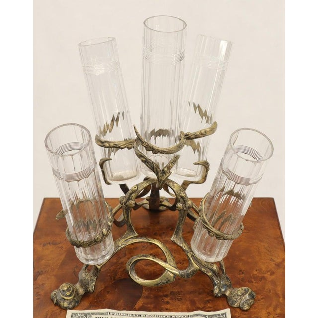 Early 20th Century Art Nouveau 5 Branches Center Piece Cut Glass Vases For Sale - Image 5 of 13
