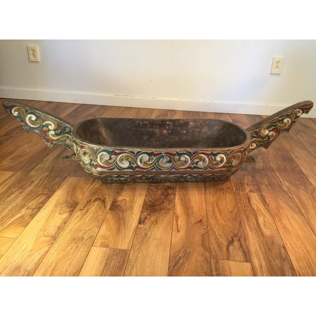 Filipino Carved & Painted Very Large Food Bowl - Image 2 of 8