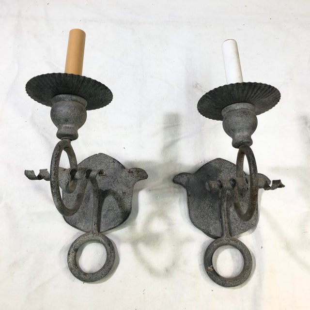 Niermann Weeks French Iron One Arm Wall Sconce - Set of 2 - Showroom Sample This set of two Niermann Weeks light fixtures...