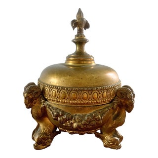 Neoclassical Lidded Bowl With Ram's Heads For Sale