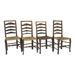 Early 19th Century English Ladder Country Side Chairs - Set of 4 For Sale