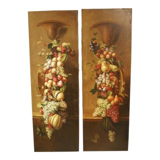 Pair of Tall Antique Italian Still Life Paintings, Circa 1900 For Sale