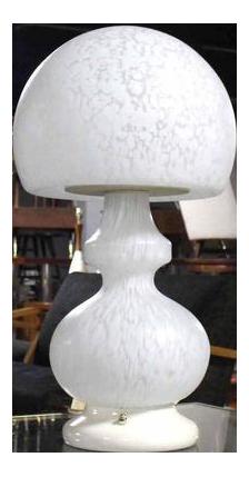 Textured Milk Glass Mushroom Table Lamp