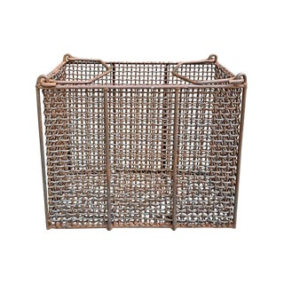 Vintage American Industrial Woven Wire Basket For Sale