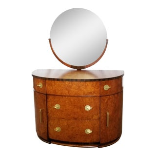 Art Deco Donald Deskey Demilune Commode Dresser For Sale