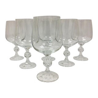 Bohemia Czech Crystal Claudia Goblets, Mint Condition W/Box - Set of 6 For Sale