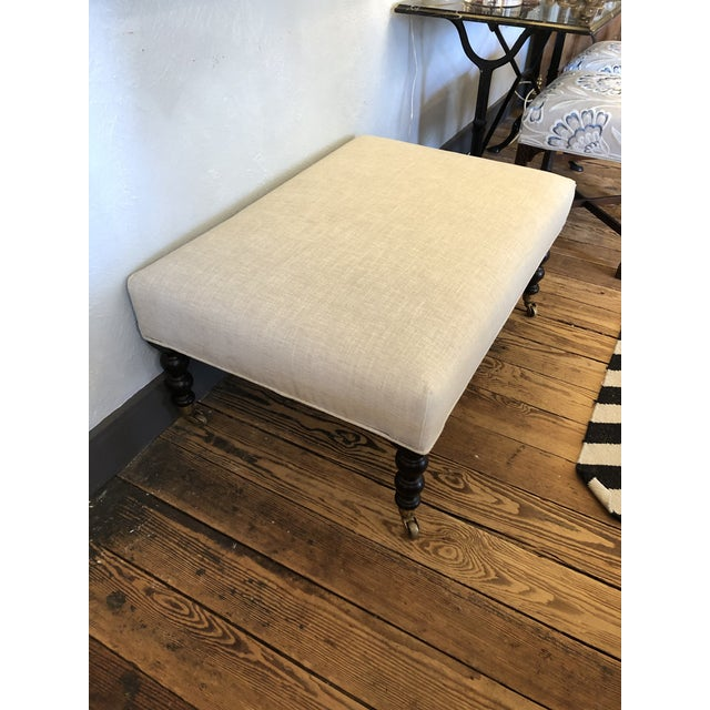 George Smith Style Chenille Ottoman Coffee Table For Sale In Philadelphia - Image 6 of 9