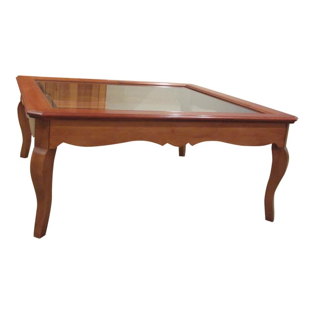 Ethan Allen Country French Coffee Table With Beveled Glass Insert - Image 1 of 4
