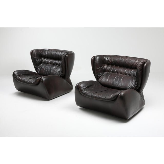 1970s Dark Brown 'Pasha' Lounge Chairs by Durlet - 1970's For Sale - Image 5 of 13