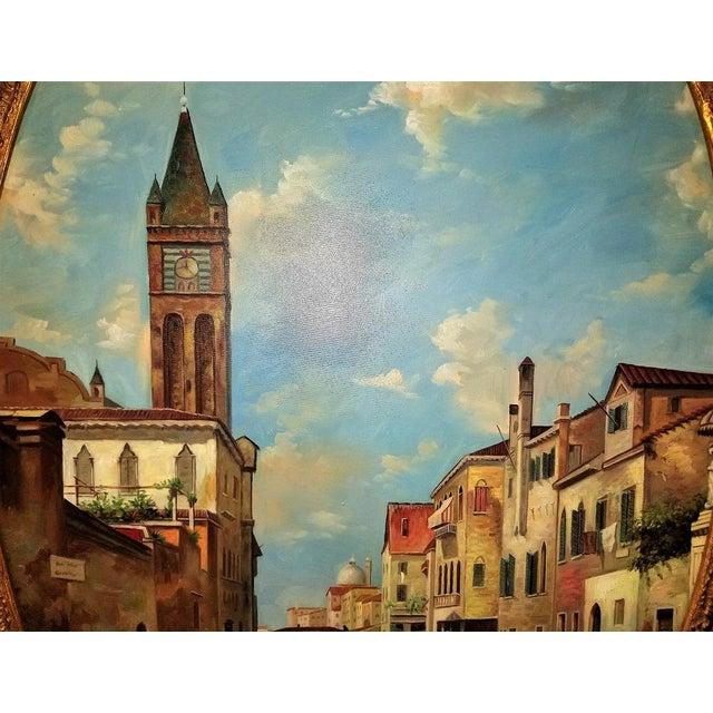 Italian Oil on Canvas of Venetian Scene in Ornate Giltwood Frame For Sale - Image 3 of 12
