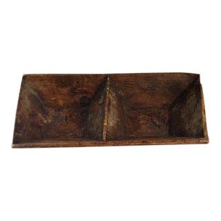 Vintage Wood Divided Trough Bowl