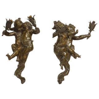 French Victorian Bronze Two-Arm Wall Sconces Signed Joseph Cheret - a Pair For Sale