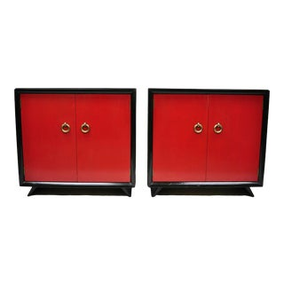 20th Century Art Deco Harjer Red and Black Cabinet Commodes - a Pair For Sale