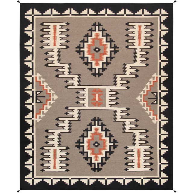 Modern Pasargad Home Navajo Style Wool Area Rug-9′1″ × 11′10″ For Sale