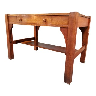 Early 1900's Mission Oak Library Table For Sale