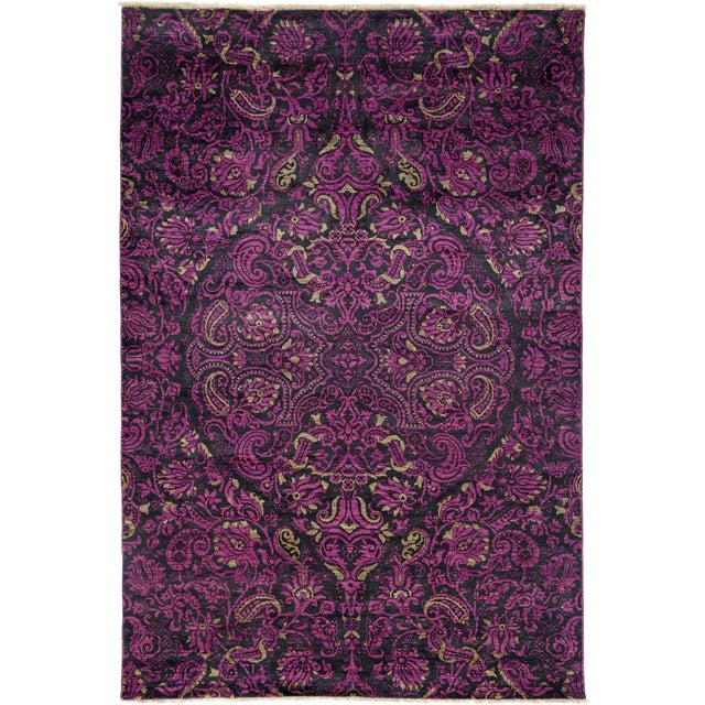 """Suzani Hand Knotted Area Rug - 6' X 8'10"""" For Sale"""