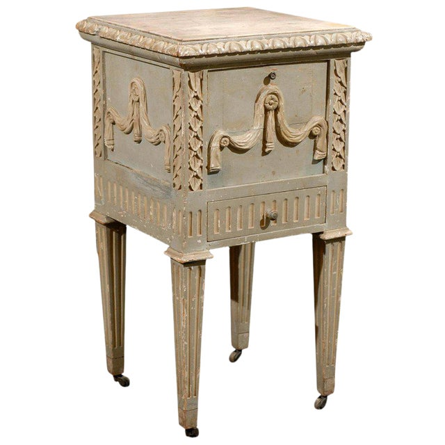 French Drop-Front Nightstand Table on Casters and Marble Top For Sale